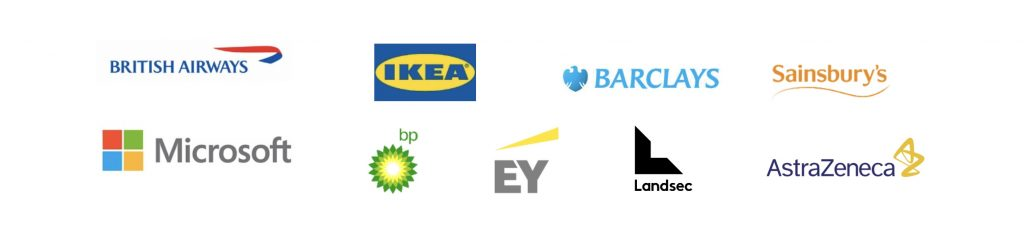 Logos of businesses that have elected to battle climate change